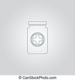 Medical container. Flat web icon or sign isolated on grey background. Collection modern trend concept design style vector illustration symbol