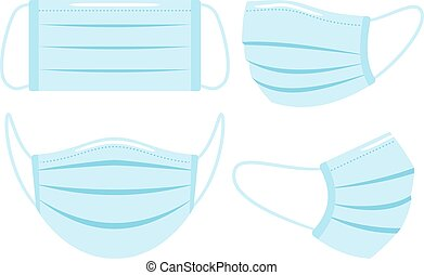 Medical face mask. Flu protection masks isolated on white background, pollution and virus breathe respiratory protective cover, head infection hygiene care prevention visor, vector illustration