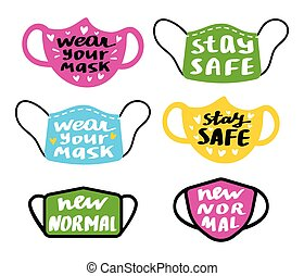 Medical face mask icons set. With handwritten text - new normal, stay safe, wear your mask. Vector illustration isolated on white.
