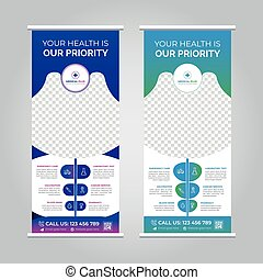 Medical roll up banner stand template