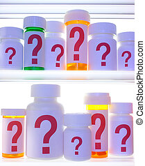 Close crop of medicine cabinet shelves filled with pill bottles, each labeled with a red question mark. The bottles and shelves are lit with cooler blue light and are strongly backlit with white light.