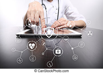 Medicine doctor with modern computer, virtual screen interface and icon medical network connection. medical concept.