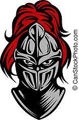 Medieval dark knight in helmet. Vector illustration