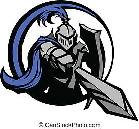 Medieval Knight Wearing Armor Vector Mascot Holding a Shield and Pointing a Sword