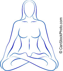 Illustration of a meditating woman in yoga position.