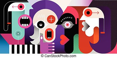 Meeting of Four People vector illustration