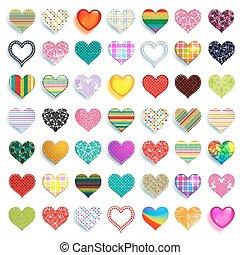 Mega set of 49 colorful scrapbook hearts