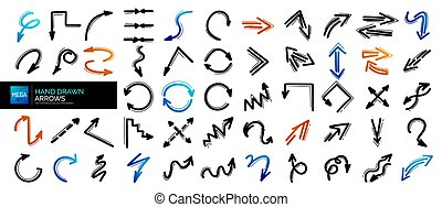 Mega set of hand drawn arrow icons. Arrows doodles design elements