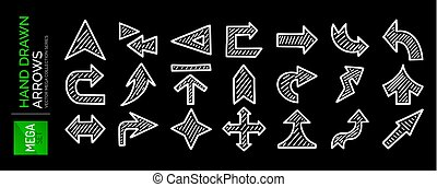 Mega set of hand drawn arrows. Direction, navigation, download, location and other concept icons