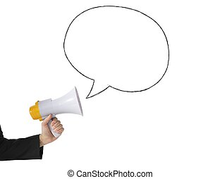 Megaphone with message on white background
