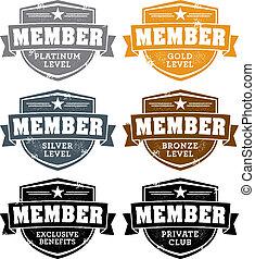 Distressed membership level badge stamps.