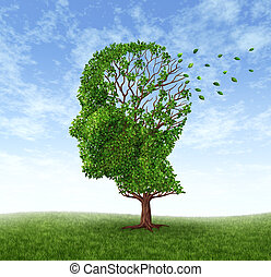 Memory loss due to Dementia and Alzheimer's disease with the medical icon of a tree in the shape of a human head and brain losing leaves as a symbol of challenges in intelligence and memory loss on a blue sky.
