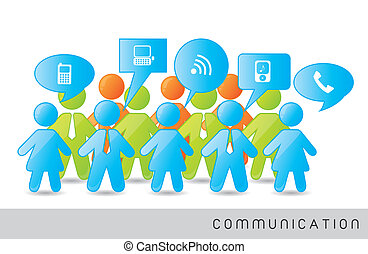 men and woman signs with communication signs. vector illustration