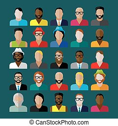 men appearance icons. people flat icons collection