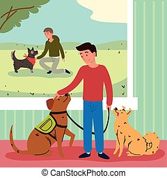 men with animal pets
