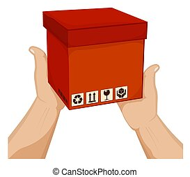 Mens hands hold a box with barcode and cargo storage signs. Shipping and home delivery. Gifts and surprises with courier delivery. Cartoon vector on white background