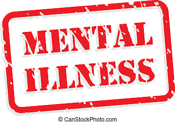 Mental illness red rubber stamp vector for mental health concept