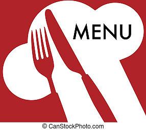 Menu Card Background - Cutlery and Menu Sign on Dark Red Background