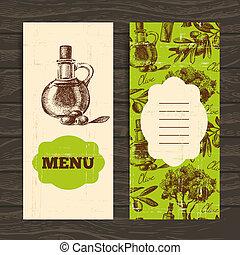 Menu for restaurant, cafe, bar. Olive vintage background. Hand drawn illustration
