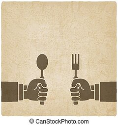 Menu old background. Hands with fork and spoon
