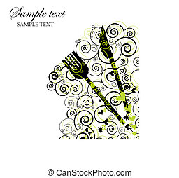 Illustration of a knife and fork with swirls and hearts.