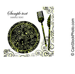 Illustration of a plate with cutlery.