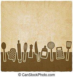 Menu or recipe book design. set of kitchen utensils