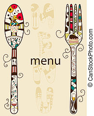 Vector menu pattern with spoon and fork