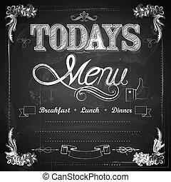 illustration of menu written on chalkboard