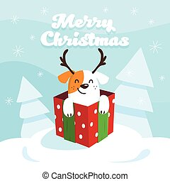 Merry Christmas and Happy New Year card with happy dog in the gift box. Vector illustration