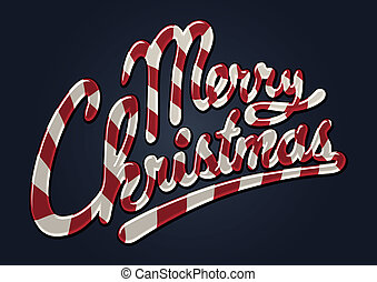 Illustrated merry christmas candy cane
