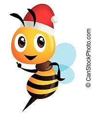 Merry Christmas! Cartoon cute bee character wearing Christmas hat - vector character mascot