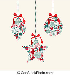 Merry Christmas hanging baubles elements composition.