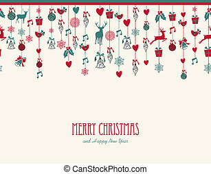 Merry Christmas hanging elements decoration composition.