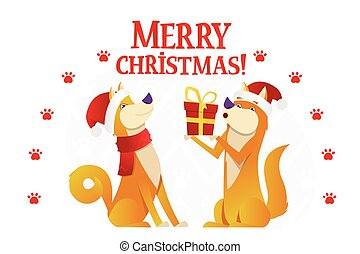 Merry Christmas postcard template with two cute yellow dogs with the red gift on white background. The dog cartoon character vector flat illustration.