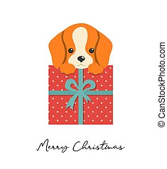 Merry Christmas puppy illustration, cute small dog with a gift box