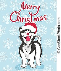 merry christmas slogan greeting card with cute funny husky dog in santa hat on blue background with white snowflakes, editable vector illustration for holiday decoration