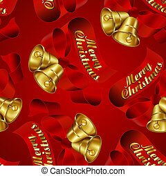Seamless Merry Christmas Bells wrapping paper pattern.