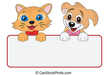 dog and cat hold a clean banner
