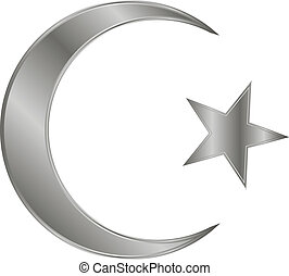 Metal star and crescent icon on white background. Vector illustration. Symbol of Islam.