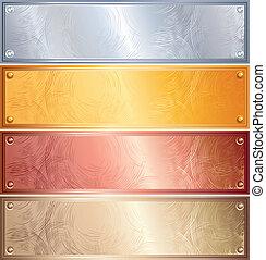 Various vector metallic plates with rivets, golden, silver, bronze, copper