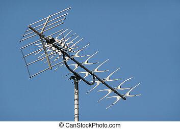 metallic rooftop TV aerial