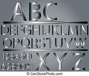 Metallic style alphabet