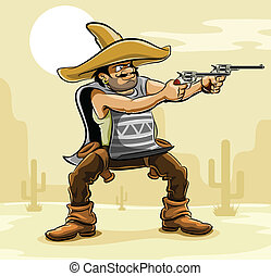 mexican bandit with gun in prairie vector illustration