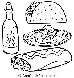 Mexican Food Items Line Art isolated on a white background.