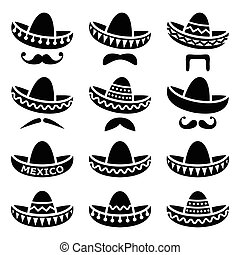 Vector black icons set of Sombrero isolated on white