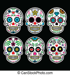 Vector icon set of decorated skull - tradition in Mexico, colorful icons isolated on black