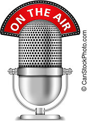 Retro microphone on the air, vector eps10 illustration