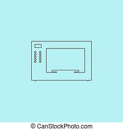 Microwave oven. Simple outline flat vector icon isolated on blue background