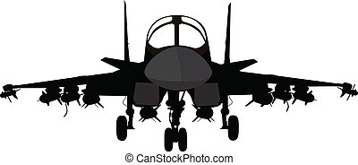Su-34 Russian fighter-bomber aircraft vector silhouette